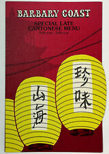 Vintage Late Night Chinese Food Menu BARBARY COAST Hotel & Casino Las Vegas NV