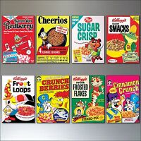 Vintage Cereal Box Fridge Magnets set of 8 large Retro  Reproduction Magnets No1