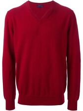 Lanvin Red 100% Cashmere V-Neck Sweater Size 50/ Medium NEW