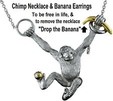 Chimpanzee necklace 18K Gold, Sterling Silver & Diamond: Drop the Banana: Let Go