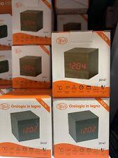 Sveglia Cubo Legno Orologio Da Tavolo Display Led Temperatura hsb Batteria USB