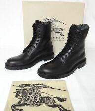 Authentic BURBERRY leather lace-up COMBAT MILITARY ankle boots EU 43 US 10 BLACK