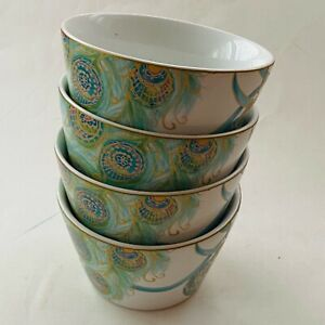 222 FIFTH Lakshmi peacock holiday fine china bowl (lot of 4)