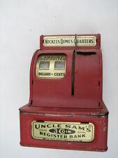 VINTAGE 1950's RED UNCLE SAM'S 3 COIN TOY CASH REGISTER BANK