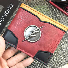 Dc Comics SuperHero Flash Logo Suit Up Carbon Fiber Metal Badge Bifold Wallet