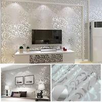 Home Decor Metallic Textured Damask Embossed Wallpaper Soft Grey Silver Glitter