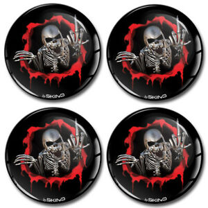 70mm 3D Silicone Stickers Decals Wheel Center Hub Rims Caps Middle Finger Skull