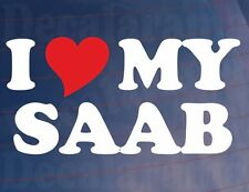 I LOVE/HEART MY SAAB Novelty Car/Window/Bumper Vinyl Sticker/Decal