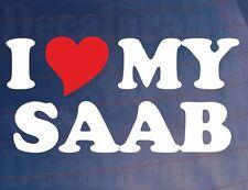 I LOVE/HEART MY SAAB Auto Neuheit/Fenster/Autovinylaufkleber/Aufkleber