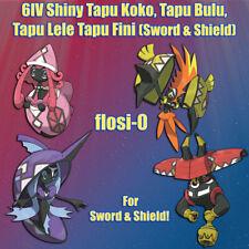 6IV Shiny Tapu Koko Tapu Bulu Tapu Lele Tapu Fini Pokemon Sword and Shield