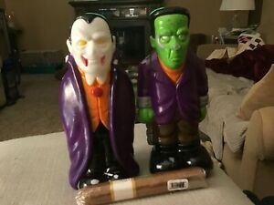 """EMPIRE Vintage 9"""" Vampire/Dracula Blow Mold And frankstein x 2"""