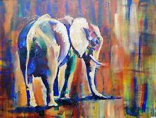 "ORIGINAL Acrylic  PAINTING on canvas board elephant 24"" X 18"" Marilyn Allis"