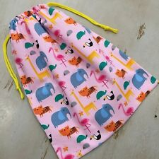 Library Bag, Sports Bag, Toy Drawstring, Pink Animals, Quality Large 45 x 35cm