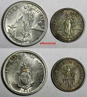 Philippines LOT OF SILVER 2 COINS 1907,1944 50 Centavos,20 Centavos KM183,KM170