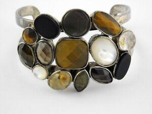 Designer Signed KC 800 Silver Multi Gemstone Cuff Bracelet Quartz Onyx MOP ++