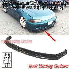 GV Style Front Bumper Lip (Urethane) Fits 92-95 Honda Civic 3dr