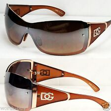 New DG Shield Womens Designer Sunglasses Shades Gold Brown Fashion Oversized Big