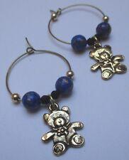 boucles d'oreilles percées bijou rétro or anneaux nounours perles bleu * 76