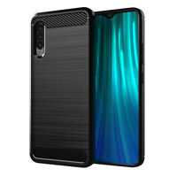 Case for Samsung Galaxy A90 5G Carbon Fibre Silicone Cover Shockproof (Black)