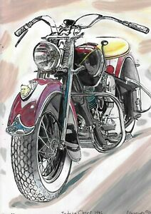 original drawing A4 157UV art samovar Mixed Media moto Indian Chief Signed