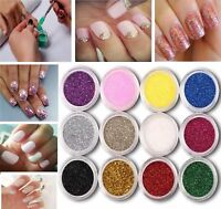 Powder Pots Tips Decoration12 Colours Nail Art Craft Acrylic