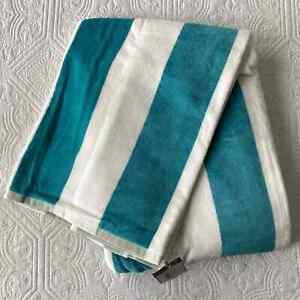Pottery Barn Awning Stripe Beach Towel Pool Blue Gold White NWT