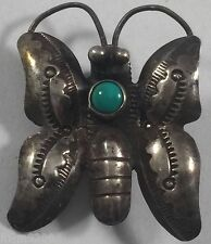 Vintage Navajo Indian Turquoise Sterling Silver Butterfly Pin Brooch
