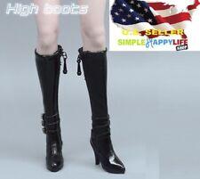 """1/6 Women Black High heels Boots Zipper Shoes For 12"""" figure phicen kumik ❶USA❶"""