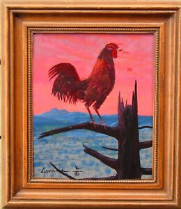 Native American Fred Cleveland Rooster on Fence at Sunset Oil Painting #6 NO RES