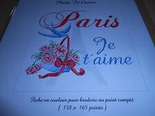 """grille point de croix PASSION BONHEUR """"paris je t'aime"""""""