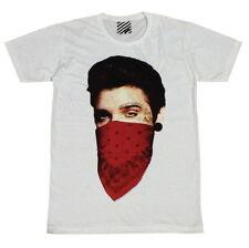 ARAINA Evit Presley Paisley Bandana Biker Rock Swag #AR117 Men White T-Shirt M L