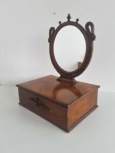Biedermeier Table Mirror Cosmetic Mirror Walnut Um 1850