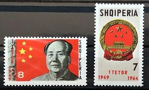 ALBANIA OLD STAMPS COLLECTION LOT SHQIPERIA CHINESE PRESIDENT MAO TZETUNG 1964!!