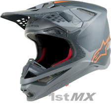 Alpinestars Supertech SM-10 SM10 Motocross MX Casco De Carrera Gris Flo Naranja adultos