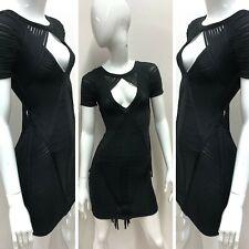 New HERVE LEGER Women's Black Short Sleeve Keyhole Layered Fringe Dress Size s