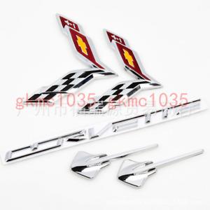2014-2019 C7 Corvette Silver Red Emblem 5pc Set - Flags Stingraysr Letter Badge