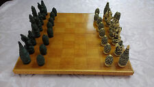 Vintage Wood Chess Board + Unique White and Black Resin Chess Pieces Set