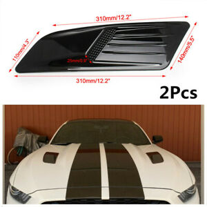 2x Air Intake Trim Covers Racing Car Hood Scoop Vent Roof Decorative Accessories