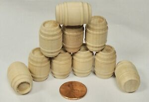 O SCALE LOT OF 10 Wood Wine/Whiskey Barrels UNFINISHED  O27 Scale TRAIN CARGO