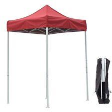 5'X5' Outdoor Pop up Canopy Gazebo Pavilion Tent Shelter White Frame W/Bag Red