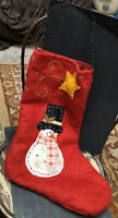Vintage Red Lined Felt Christmas Stocking Snowman Shooting Star Holiday Decor