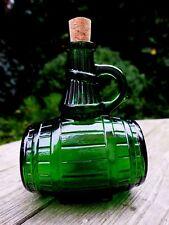 Vintage Green Glass Barrel Design Decanter Bottle Made in Belgium capacity0.5ltr