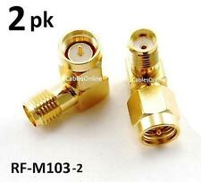 2-PACK SMA Male to Female Right Angle 90-Degree Adapter w/ Gold Plated Contacts