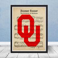 University of Oklahoma Logo Fight Song Music Art Decor Gift Print Boomer Sooner