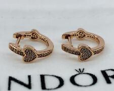 NEW PANDORA ROSE GOLD ALLURING HEARTS HOOPS EARRINGS