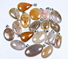 5 PCs Natural FOSSIL CORAL Gemstone 925 Sterling Silver Plated Pendant VPB85