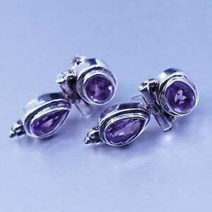 Vintage acleoni jewelry | Sterling 925 silver earrings with teardrop amethyst
