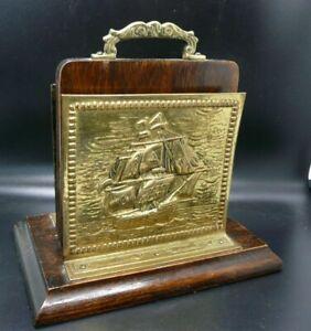 Vintage Brass & Oak Letter galleon & Fish, unusual sail motifs