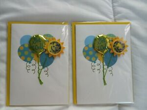 Papyrus Get Well Card 3D mylar balloons with real string, Sunny Smiley Face 2 ct