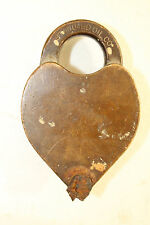Antique  brass STANDARD OIL CO gasoline company logo padlock heart shaped no key